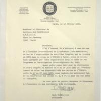 [Monsieur, J'ai l'honneur de m'adresser à vous au nom de l'Institut International de Littérature Iberoaméricaine]