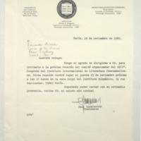 [París, 19 noviembre de 1982. Querido colega : Tengo el agrado de dirigirme a Ud. para invitarlo]