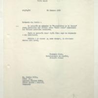 """[Estimado don Benito : Le acompaño un ejemplar de """"Perspectivas de la Unesco""""]"""