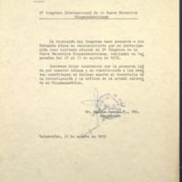 [La dirección del Congreso hace presente a don Fernando Aínsa su reconocimiento]
